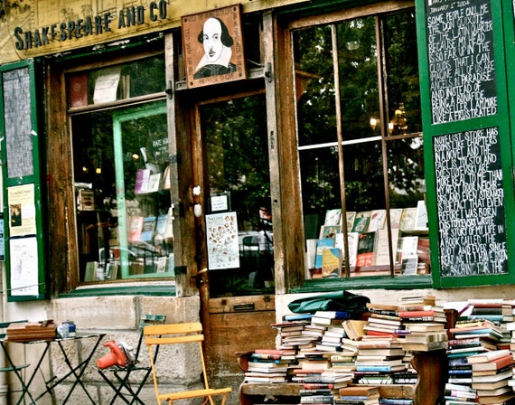 Paris Photography - Shakespeare and Company Photo Book Store Photograph Back to School Print Green Brown Home Decor French Wall Art