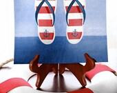 Maritime Flip Flops (Red & White) Room Art