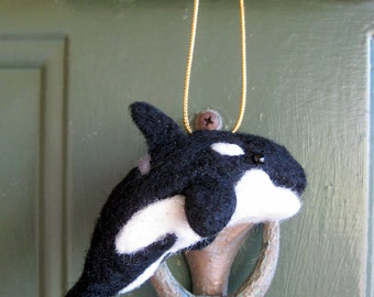 Felted Orca - Needle Felted Whale - Killer Whale Ornament