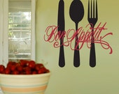 Bon Appetit - Vinyl Wall Decal Sticker Art - Kitchen mural
