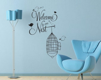 Welcome to our Nest  Wall Decal - cute birds and birdcage design