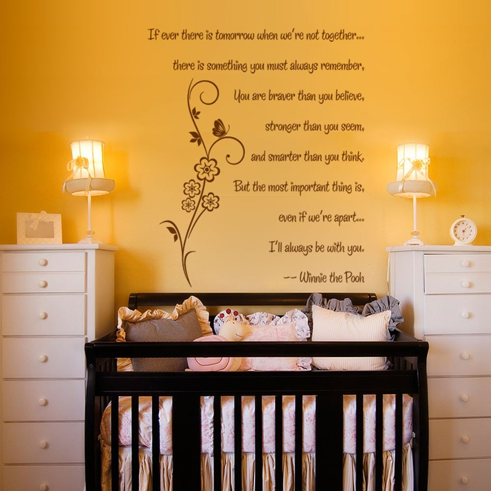Winnie The Pooh Quote If Ever There Is A Tomorrow: Vinyl Wall Decal Sticker Art You Are Braver By