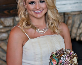 Brooch Bouquet Made With Your PIeces - Custom Miranda Lambert Vintage Brooch Bouquet Using Your Pieces Collected From Family / Bridal Shower
