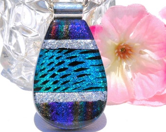 Dichroic Glass Pendant, Fused Glass Jewelry, Fused Dichroic Glass, Modern, Contemporary, Bright Colors - Purple Cyan Silver  (Item 10375-P)