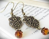 Owl Earrings, Antiqued Brass Filigree and Amber Glass