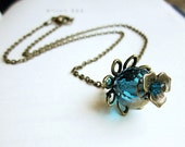 Pendant Necklace, Blue Czech Glass and Antiqued Brass