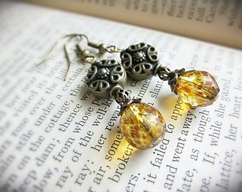 Beaded Earrings, Tortoiseshell Amber Yellow Floral, in Antiqued Brass and Czech Faceted Glass