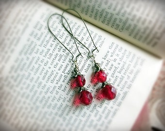 Earrings, Victorian, Romantic, Ruby Red Faceted Czech Glass and Antiqued Brass