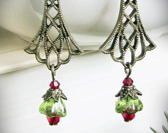 Holiday Earrings, Christmas, Filigree, Red and Green, in Antiqued Brass, Swarovski Crystal