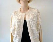 1950s Bead & Sequin Wool Sweater - vintage cocktail cardigan - size M
