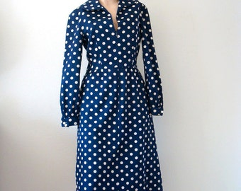 1970s Mollie Parnis Dress / Mod Polka Dot A-line Sheath / Designer Vintage / Size M