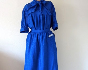 1980s Oleg Cassini Silk Dress / A-Line Skirt & Pussy Bow Blouse / Designer Vintage NOS