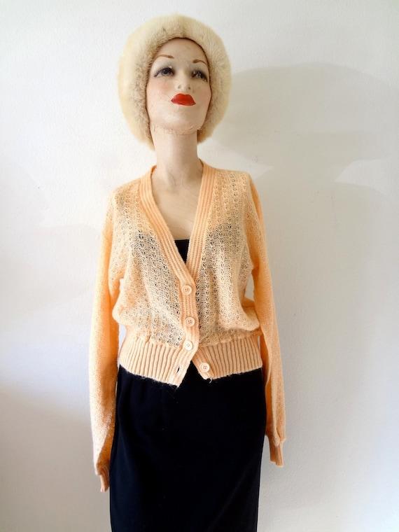 1970s sweater / pointelle cardigan knit top / peach sorbet