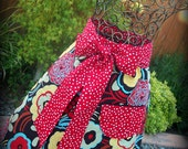 Women's Hostess Apron in Retro Floral, Red Polka Dots/ Ladies Valentine's Gift