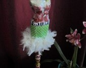 Dressmaker Form on Turned Wood Pedestal Glam Outfit with Feathers in Green, Red and White