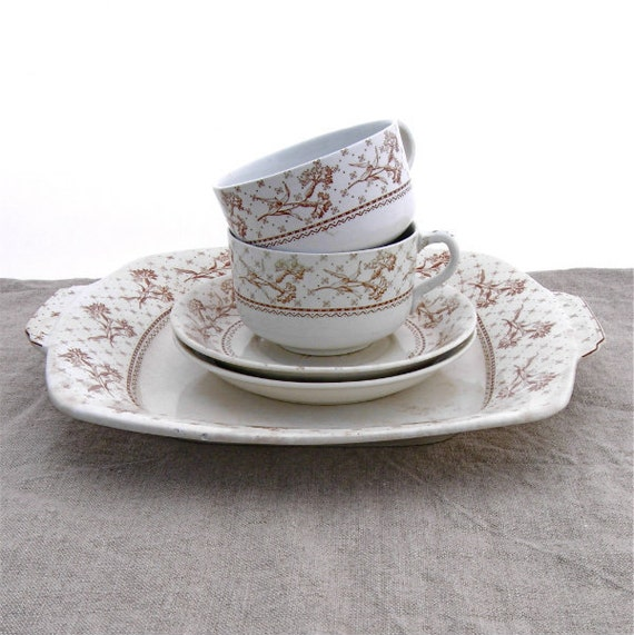 Antique Brown Transferware Platter Cups Saucers Breakfast Coffee or Tea Set Porcelain Stoneware Harvard Staffordshire Brownsfield