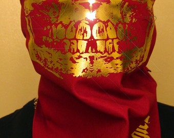 Burgundy Red All Gold Foil Skull Face Mask Bandana FSU Florida Seminoles