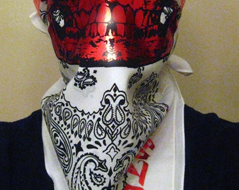 RED Chrome metallic skull on white and black paisley bandit Mask Bandana