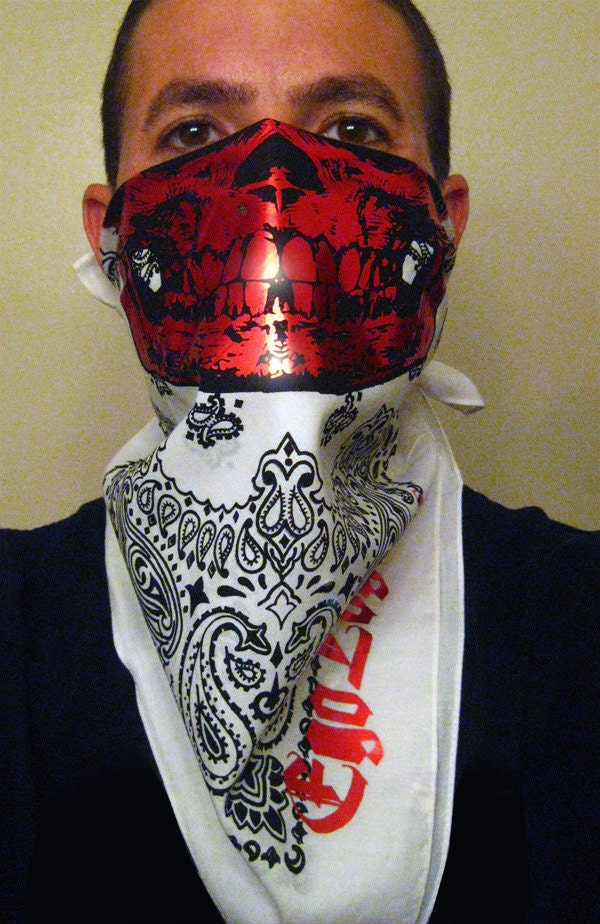 Red Chrome Foil On White And Black Paisley Skull Mask By