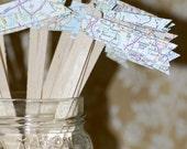 50 Map Travel Themed Drink Stirrers or Stir Sticks - Atlas