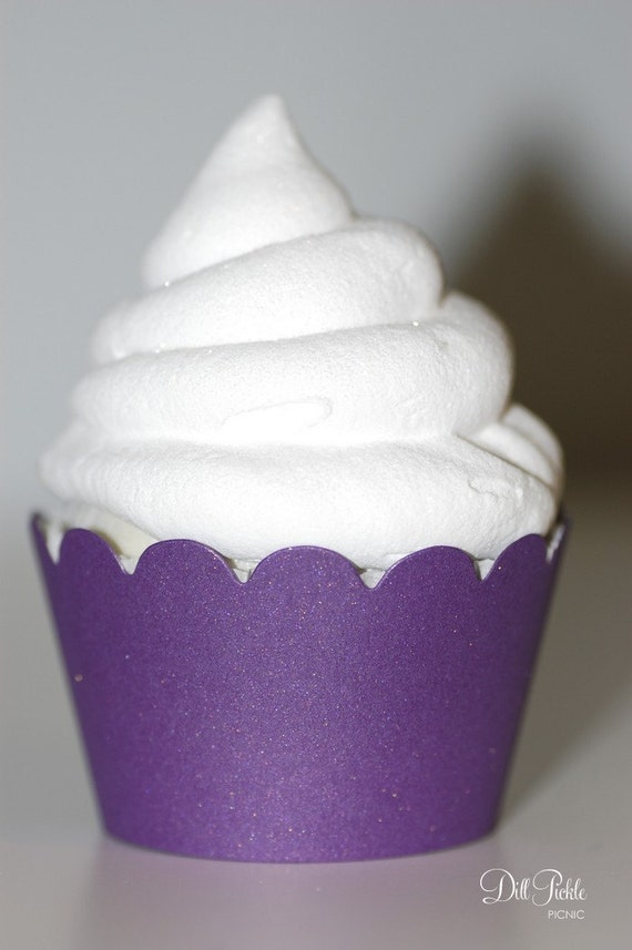 Pearlized Purple Cupcake Wrappers - Cupcake Wraps Set of 24 - Standard or Mini