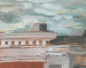 Baltimore Row Houses Overcast Day Original Oil Painting