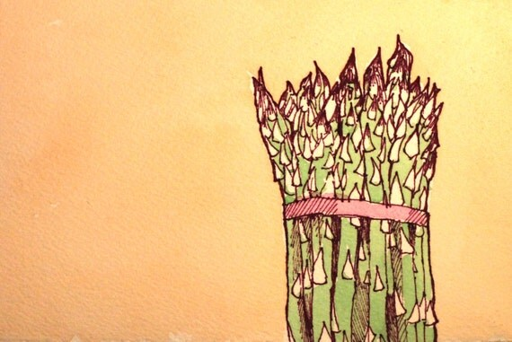 Watercolor and Sharpie Asparagus Bunch Painting Original