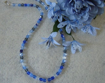 Shades of Blue and Gray Glass Beaded Necklace with a Teardrop Pendant  FREE SHIPPING