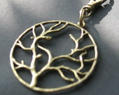 Tree Branches Zipper Pull Purse Fob Backpack Clip Antiqued Brass Silhouette