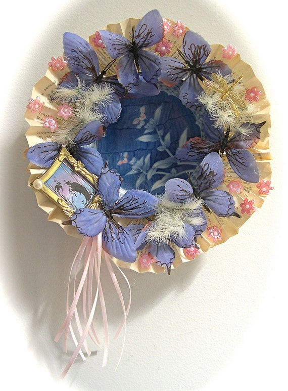 OOAK Floral Wreath with Vintage Plate Center Japanese Flowers