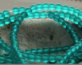Czech Glass Matte Round Blue Green Teal 6mm (25)