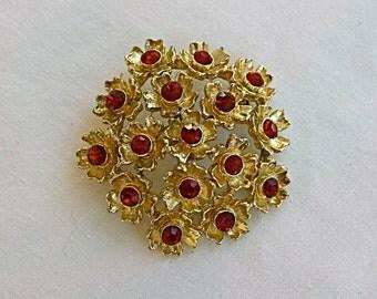 Vintage 60s Flower Brooch Fancy Gold Flowers w Ruby Red Rhinestones