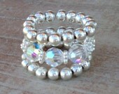Sterling Silver and Swarovski Crystals 3-Band Stretch Ring