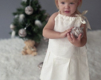 Ivory flower girl dress - Pillow case ivory linen girl dress - Special occasion Girl dress sizes 0,5 - 5 years - Linen girl dress