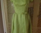 1960's Original Organdy and satin vintage styled lime green cocktail dress