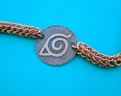 Naruto Hidden Leaf Village anime manga inspired maille copper necklace