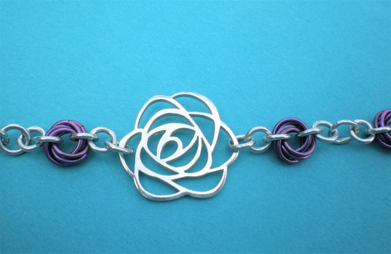 Angel Face Roses sterling silver and niobium necklace