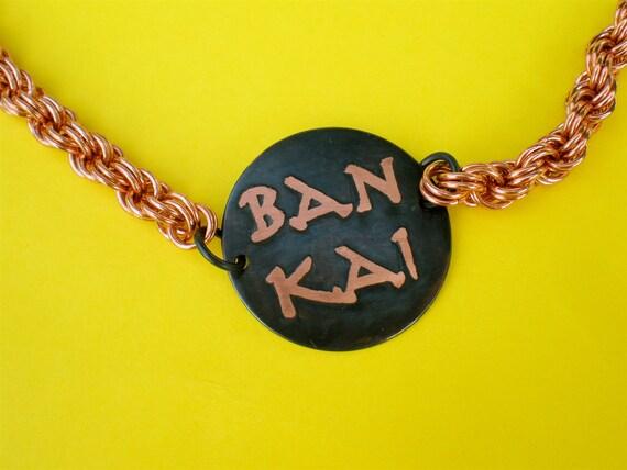 Bleach Japanese anime manga inspired Ban Kai Shi Kai double sided etched copper necklace
