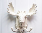 Large Moose Head Wall Hook / Cast Iron Refinished in Shabby Creamy White / Faux Taxidermy