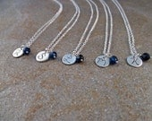 Bridesmaids Five (5) Necklace Set of Personalized Fine Silver Small Round Initial Tags with Birthstones