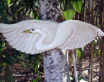 """Flying White Egret 36"""" chainsaw wood carved bird sculpture seaside home decor rustic egret wall mount hand painted low country wild bird art"""