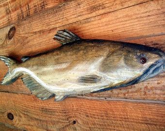"""Channel Catfish 28"""" wooden chainsaw fish carving detailed rustic lake lodge home wall mount sport fishing log cabin decor primitive art"""