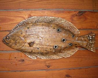 """Flounder 26"""" chainsaw wood fish carving art sealed flatfish saltwater rustic beach home decor indoor outdoor wall mount fishing sculpture"""
