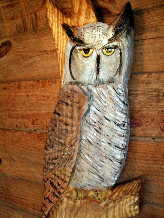 56 Great Motivational Quotes That Will Make Your Day: Great Horned Owl Perched In Tree 56 Chainsaw By Oceanarts10