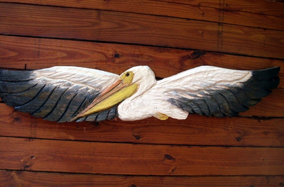 Great White Pelican 5ft. chainsaw pelican carving flying wild shore bird wooden sculpture seaside beach cottage home decor centerpiece art