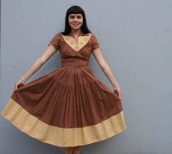 1940s Cotton NOVELTY DRESS / Rare SW Ethnic Studs Full Skirt, S