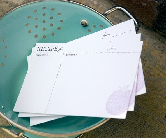 10 Blackberry Recipe Cards, modern design (Letterpress printed, 4x6 inches) set of 10, perfect gift, organize recipes