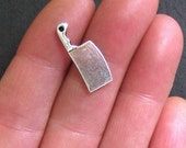 10 Chef Knife Charms Antique  Silver Tone 2 Sided - SC107