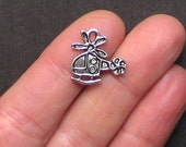 10 Helicopter Charms Antique  Silver Tone - SC1359