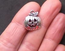 8 Halloween Pumpkin Charms Antique  Silver Tone - SC724